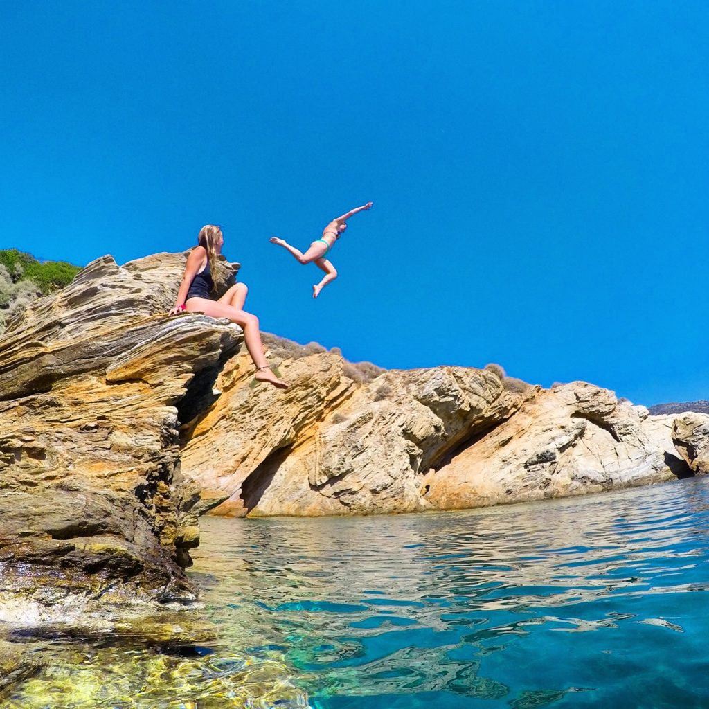 Girls cliff jumping in Ios, Greece go pro