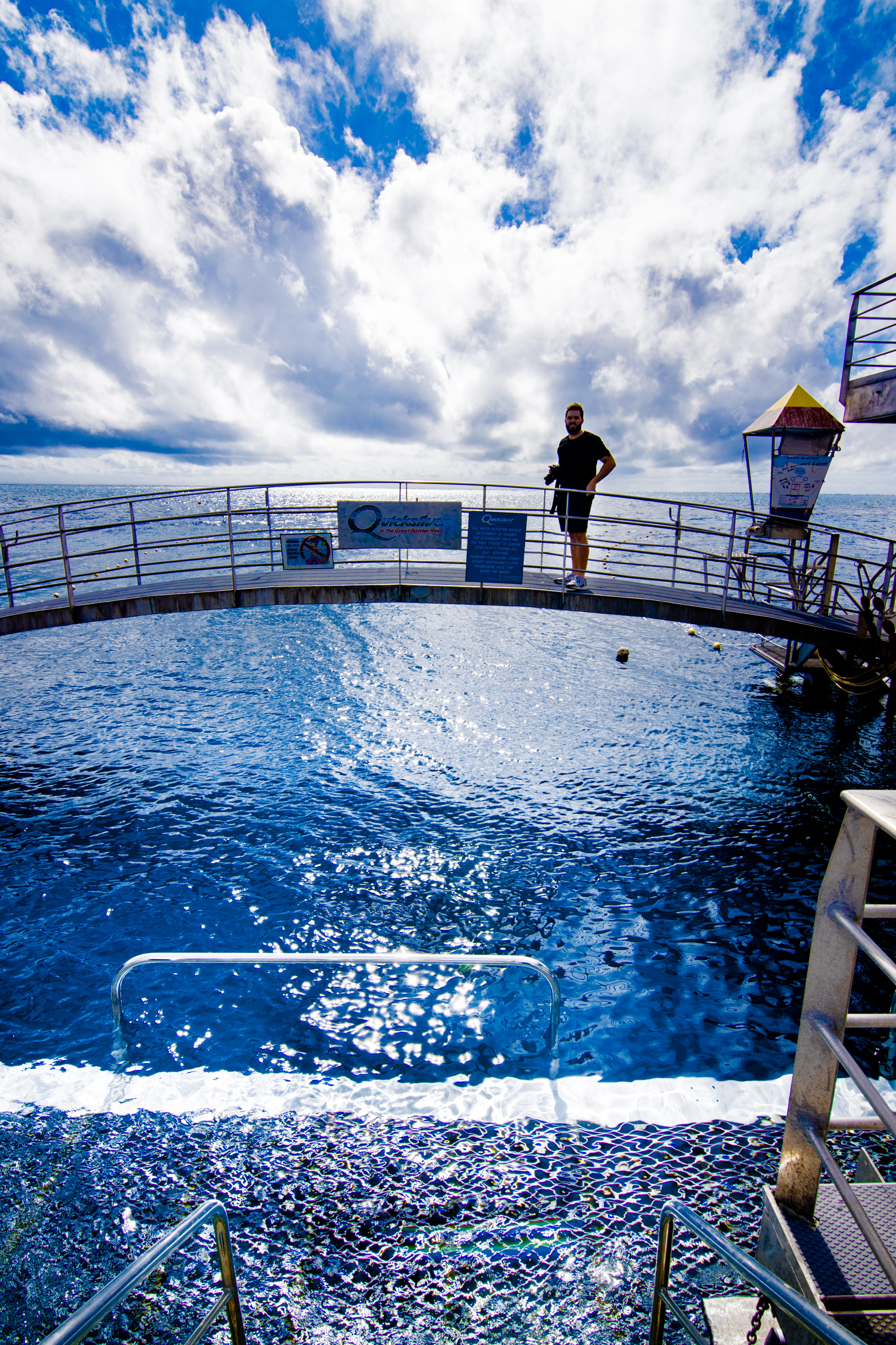 Rian Cope standing on Quicksilver Pontoon in Great Barrier Reef