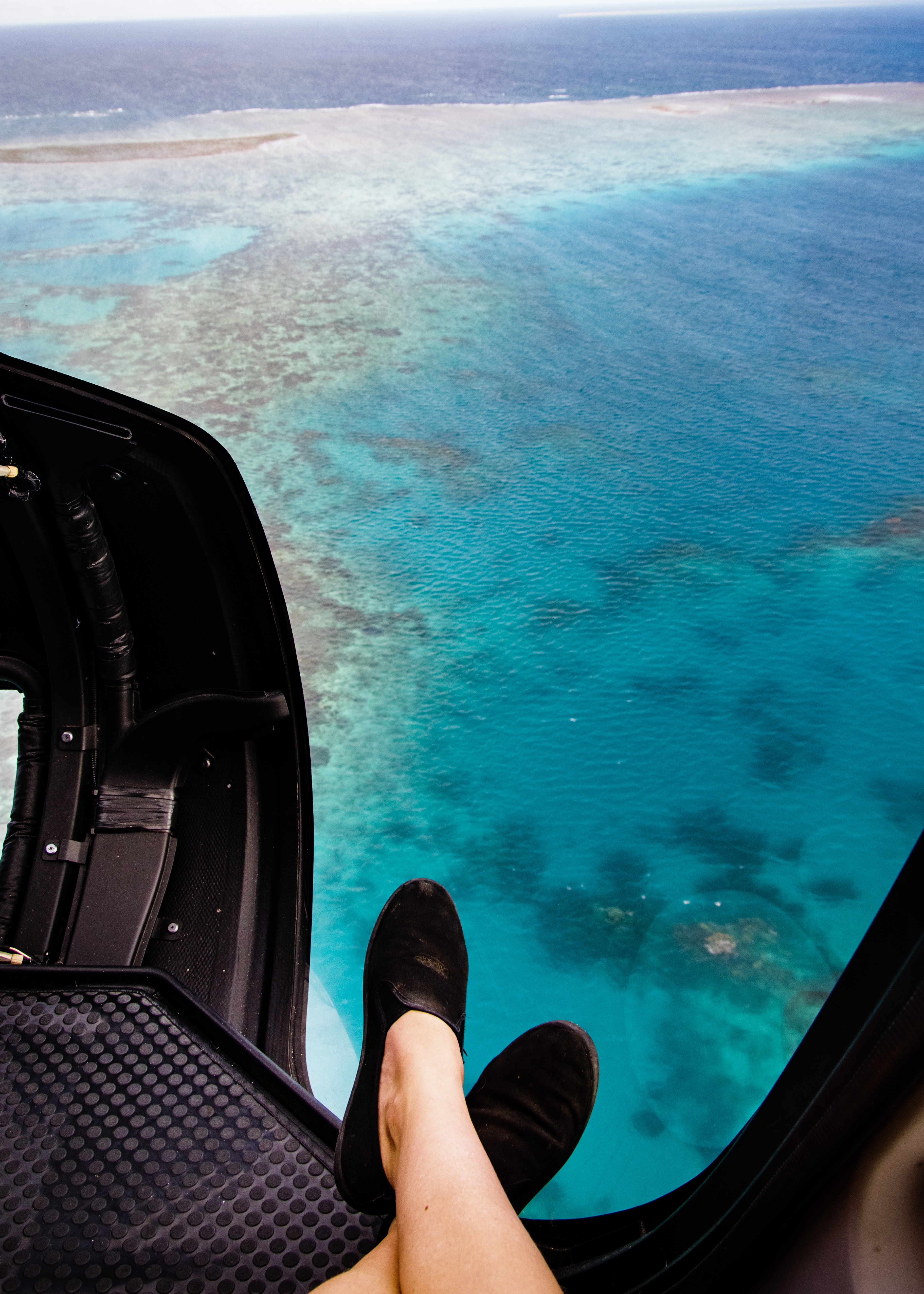 feet in helicopter above the Great Barrier Reef