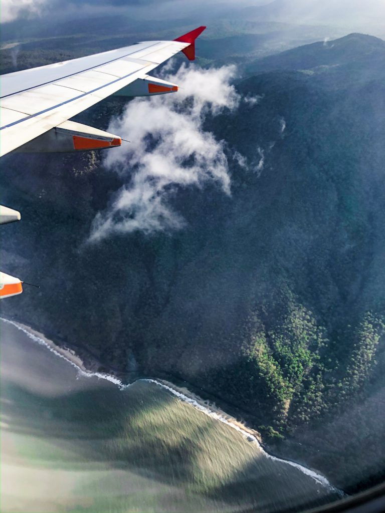 Jetstar flight across rainforest in Cairns