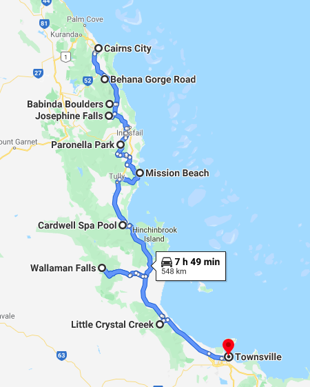 Cairns to Townsville road trip pinned by Google Maps