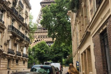 Paris Eiffel Tower Sarah Latham side street
