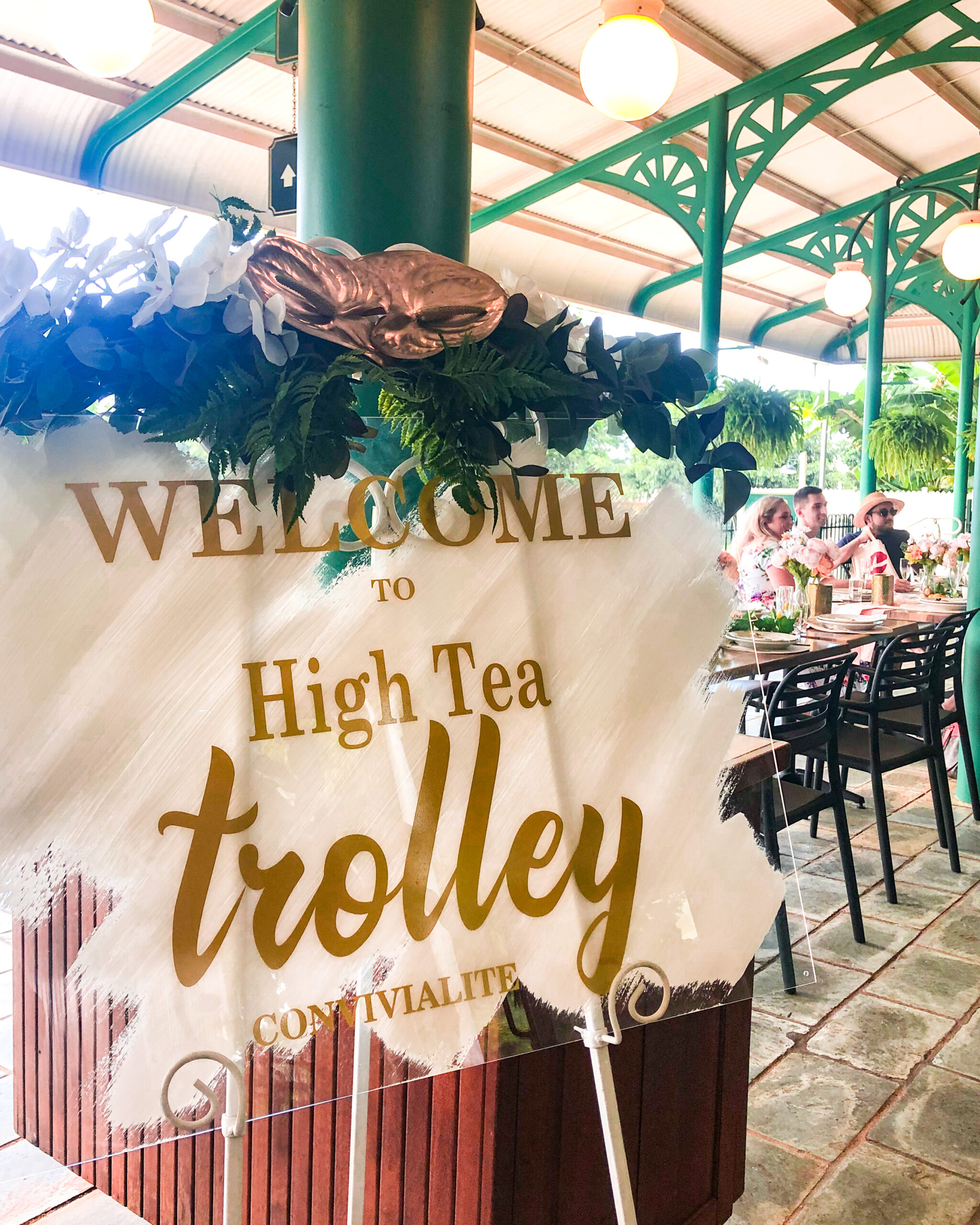 Welcome to High Tea Trolley sign
